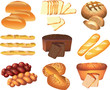 bakery breads photo-realistic vector set