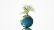 Earth globe spinning with growing tree