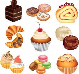cakes photo-realistic vector set