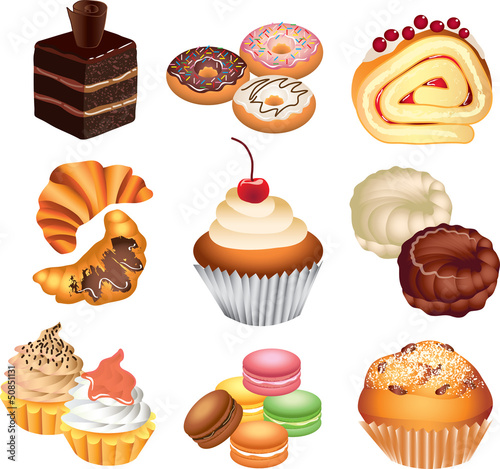 cakes photo-realistic vector set