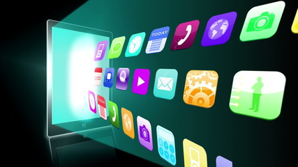 Application icons beaming from tablet pc
