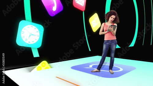 Girl  using tablet pc with holographic application icons
