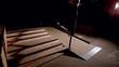 Skater doing crook down handrail