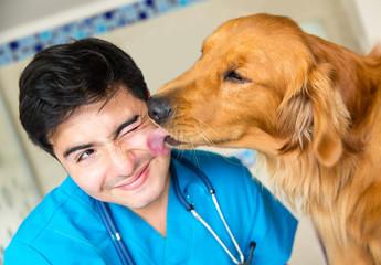 Dog kissing the vet