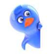 Blue bird hides behind blank sign