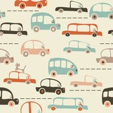 seamless cartoon map of cars and traffic
