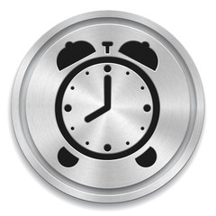 Vector illustration of metal rounded button with alarm clock sig
