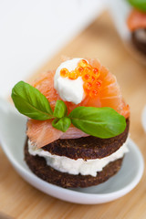salmon appetizer with caviar