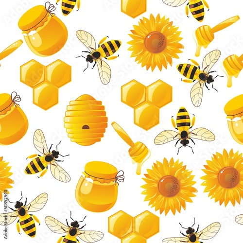 lively cartoon bees and honey seamless pattern in vector