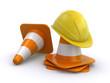 construction helmet and traffic cones