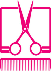 simple hairdresser icon with scissors and comb