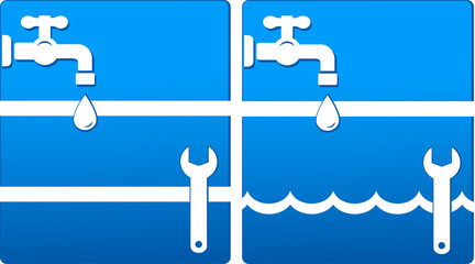 water icons with tap and wrench