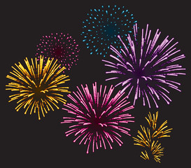 Realistic Vector fireworks