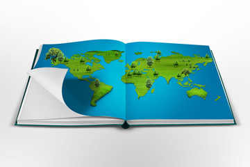 open book with the world map