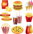 fast food meals photo-realistic vector set