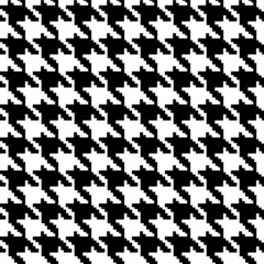 Black and White Hounds Tooth Fabric Background