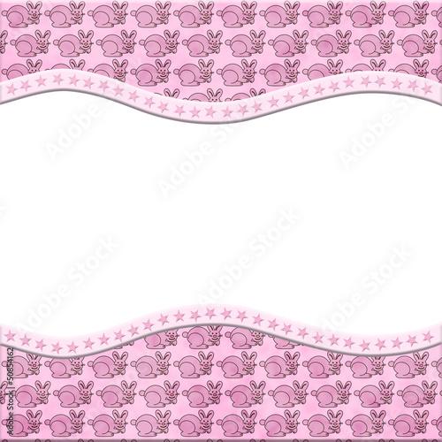 Pink Bunny Rabbit celebration frame for your message or invitati