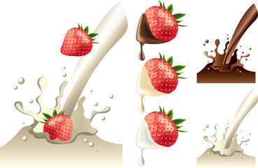 strawberry in milk and chololate splash vector set