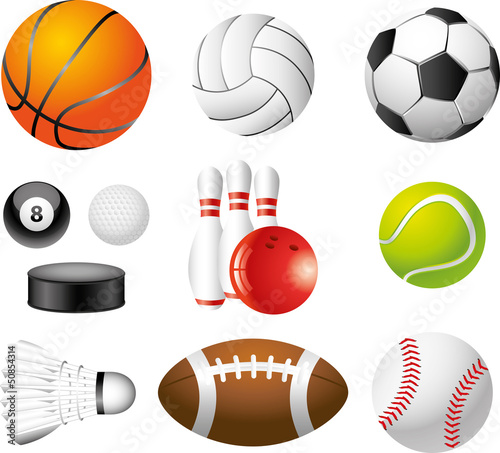 sport balls photo-realistic vector set