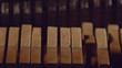 Close-up view of piano parts