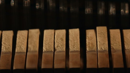 Close-up view of piano parts