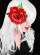 Pretty woman with red rose flower hair clip