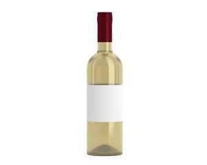 Weinflasche Beige Kappe rot mit Etikett
