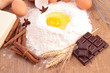 flour,egg,chocolate and ingredients