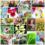 Gardening people collage.
