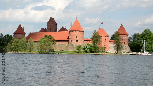 ancient trakai castle in island surrounded by galve lake