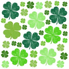 Saint Patrick Day Green Four Leaf Clovers
