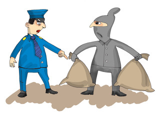 policeman and thief, cartoon