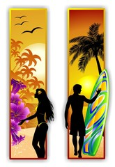 Surfer and Girl on Tropical Beach-Ragazza e Surfer al Mare