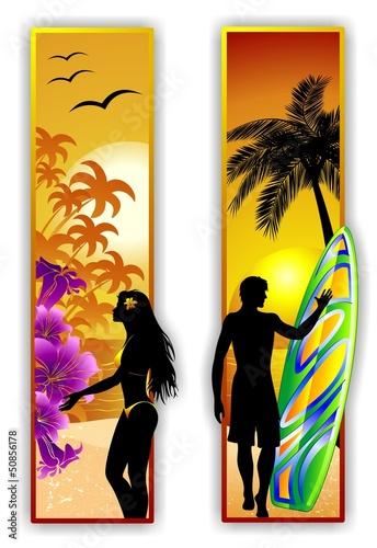 Surfer and Girl on Tropical Beach-Ragazza e Surfer al Mare