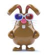 Chocolate bunny in 3d glasses