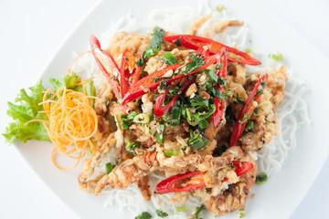 Deep fried soft shell crab. Thai style food.