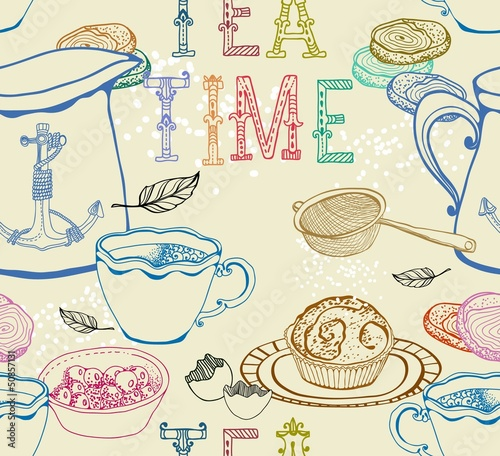 Sticker Vintage tea background