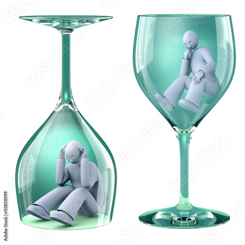 Man in glass, alcoholism as a trap