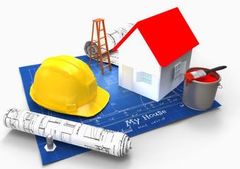 Plano de casa con casco seguridad