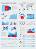 Financial Infographic set with charts and other elements.