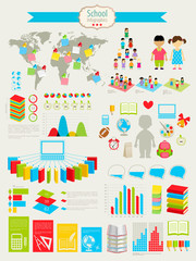 Back to school Infographic set with charts and other elements.