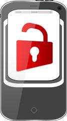 unlocked smartphone, red padlock, isolated on white background