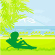 Silhouette of girl sunbathing
