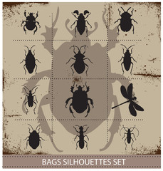 Insect and bags silhouettes sign black color