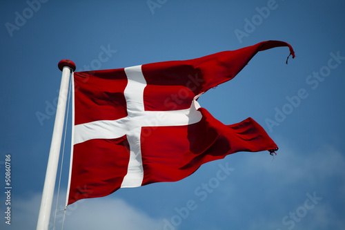 Swallowtail Dannebrog waving. The royal Danish Flag. Denmark.