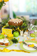 Serving Easter table on room background