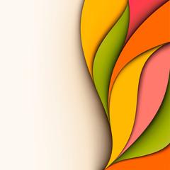Colorful design. Wavy background. Cut paper