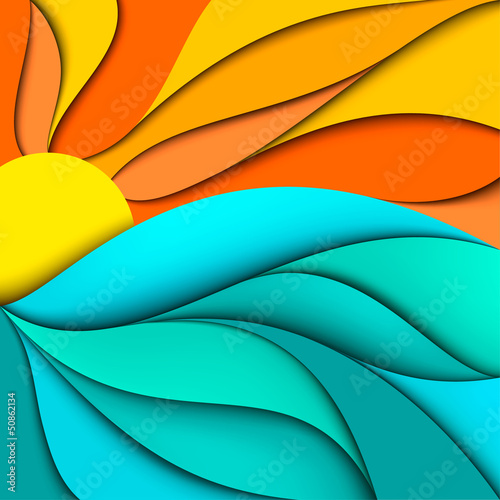 Sunset. Sunrise. Sea waves background