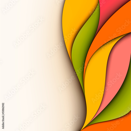 Colorful design. Wavy background. Cut paper