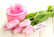 Beautiful bouquet of pink tulips and gift for Mother's Day